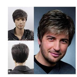 Wholesale Men Black Short Hair Wigs - peruca hair queen cosplay Ladies Best Quality Cool Men Short Lolita Black Grey Mixed Layered Wig Cosplay Grey heat resistant syn