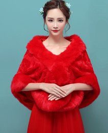 Wholesale China Wedding Dresses Online - 2017 Elegant Red Faux Fur Coat Bridal Wraps Warm Wedding Shawl Jackets Bolero For Wedding Dresses Wedding Jackets Cheap Online US UK China