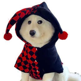 Wholesale Dog Apparel Fashion - XMAS Gift for Pet Dog Apparel Party Coplay Suit The Clown Costume Novelty Fashion Puppies Poodles Coats Cat Brand Clothing for Free Shipping