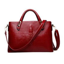 Wholesale Famous Red Wines - Wholesale- 2016 New Women Fashion High Quality Wine Red PU Leather Alligator Luxury Handbag Female Famous Brand Crossbody Shoulder Bag