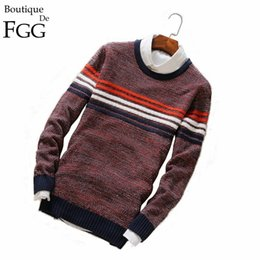 Wholesale Red White Blue Striped Flag - Wholesale- Plus Size M-5XL Holand National Flag Red\White\Blue Striped O Neck Knitted Men Casual Sweaters Pullover Slim Sueter Hombre