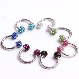 Wholesale Agate Pin - Nose pin N26 30pcs Mix 10Colors Body Piercing Jewelry Shamballa Disco Ball eyebrow ring Nose ring