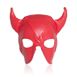 Wholesale Leather Eye Mask Adult - PU Leather Adjustable Size Devil Adult Games Mask With Eye Hole COUPER CP-GN0104