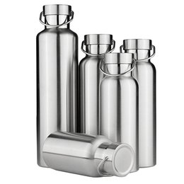Wholesale Travel Vacuum Flask Coffee Mugs - Wholesale- Stainless Steel Vacuum Cup Insulated Water Bottles Coffee Mug Drink Vacuum Flasks Travel Outdoor Yoga Camping Hiking Cycling