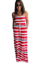 Wholesale Strapless Cotton Long Dresses Women - sexy robe de plage vestido long casual Summer Women 2017 Nautical Navy Blue Stripe Print Strapless Maxi Dress LC61150