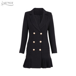 Wholesale Skirted Trench - Wholesale- Adyce 2017 New Women Formal Double Breasted Trench Black Glod Button Full Sleeve Skirt Style Pleated Long Style Women Coat