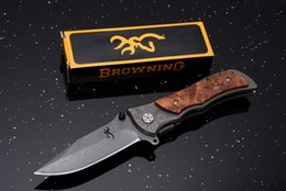 Wholesale Browning 339 Hunting Knife - Browning Folding Knife 339 Stainless Steel Damascus tattoo Camping knife Pocket knives Kageki handle tactical knife
