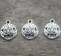 Wholesale Silver 12mm - 30pcs--Sand Dollar Charms ,Antique Tibetan Silver Tone sand dollar charm pendants 12mm