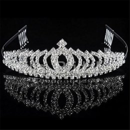 Wholesale Hair Combs For Weddings - Vintage Crystal Crown Tiara with Comb High Quality Bridal Hair Accessories For Wedding Quinceanera Tiaras Crowns Pageant Rhinestone Hairband