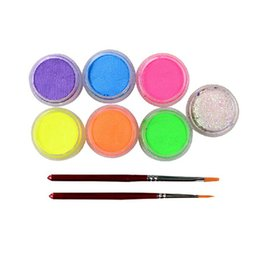 на водной основе Скидка Wholesale- Halloween UV Glow Neon Fluorescent Body Paint  Pigment 9g Color Face Painting Glitter Brushes Gift akvagrim Water-based