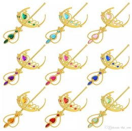 Wholesale gold Frozen Heart shape diamond cosplay Crown Tiaras Children Party Accessory Magic Wand Rhinestone Crown set in stock