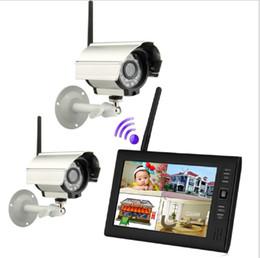 Systèmes de caméras de sécurité dvr sans fil en Ligne-7 pouces TFT Digital 2.4G sans fil caméras vidéo audio bébé surveille 4CH DVR système de sécurité avec IR caméras de nuit