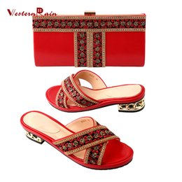 Wholesale Matching Ladies Shoe - Red blue high quality leather sewing Rhinestones flower pattern Low heels shoes matching bags comfortably slipper for Ladies
