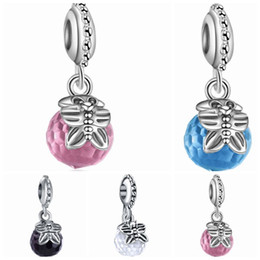 Wholesale European Butterfly Dangles - Wholesale 20pcs lot Bohemia Round Faceted Crystal & Butterfly Design Alloy metal Dangle DIY Charms fit European Bracelet &Necklace Low Price
