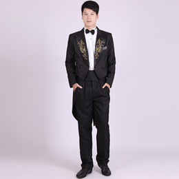 Wholesale Cheap Tailcoats - Wholesale- Four Pieces Set Mens Classic Embroidered Lapel Tuxedo Stage Show Magician Piano Manteau Homme Cheap White Tailcoat Adult Costume