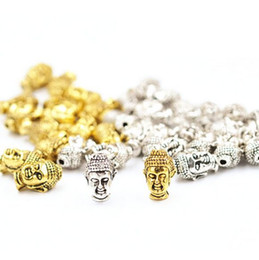 Wholesale Gold Bracelet Spacer - 100pcs lot Buda Buddha Head Spacer Beads Antique Gold Tibetan Silver Round Alloy beads for DIY Bracelet and Jewelry Making 14x10mm