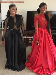 Wholesale Sheer Ankle Length Robe - Cheap 2017 Sexy Black Red African Black Girl Prom Dresses Lace Accents Long Sleeve Evening Dresses Long Vestidos Robe De Soiree