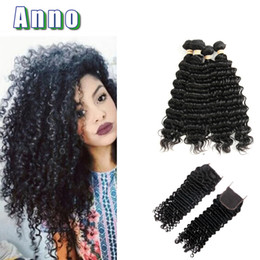 Wholesale Uk Products - ANNO Hair Products Deep Wave Brazilian Hair 4 Bundles Human Extensions Uk 8a Grade Virgin Hair With Closure