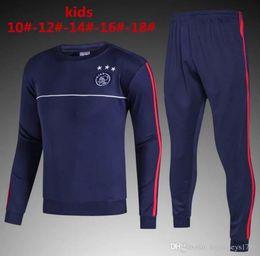 Wholesale Winter Long Jackets Kids - hot sell 2017 2018 kids Ajax football jackets tracksuit 17 18 Ajax football KLAASSEN MILIK VAN BASTEN Away long sleeve jacket Training suit