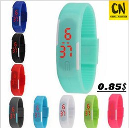 Wholesale Digital Watch Touch Led - 2017 Fashion students Sports rectangle led Digital Display touch screen watches Rubber belt silicone bracelets Wrist Children watches gift