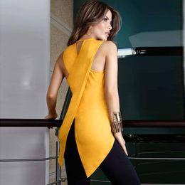 Wholesale Yellow Blouses Women - Solid Fashion Women's Lady Summer Sleeveless Slim T Shirt Casual O-neck Yellow Irregular Tops Blouse ZL3289