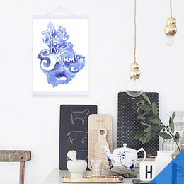 Wholesale Fishing Pictures Free - Free shipping novelty gift Just keep swimming words fish abstract blue watercolor pattern home decorative hanging poster photo picture