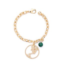 Wholesale frog pendant gold - Women Fashion Gold Color Chunky Chain Bracelet High Quality Green Beaded Lovely Frog Pendant Bracelet For Party