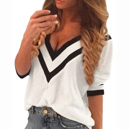 Wholesale Sexy Women Tees Sale - Wholesale-Hot Sale!New 2016 Spring Autumn Women Sexy Tee Tops Casual Deep V Neck Splicing Ladies Loose 3 4 Sleeve Blusas Plus Size