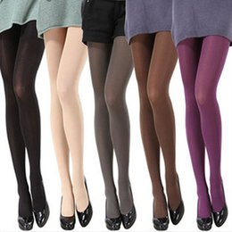Wholesale Opaque Footed Tights - Wholesale- Women Fashion Pure Color 120D Opaque Footed Tights Sexy Pantyhose Stockings