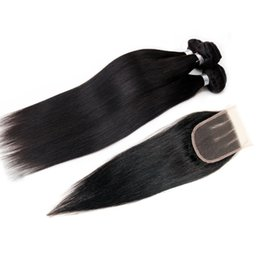 Wholesale Machining Parts Products - Brazilian Hair Silky Straight With Closure Unprocessed 100% Human Hair Weaves 3 Bundles with Three Part 4*4 Lace Closure Hair Products