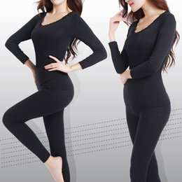 Wholesale thermal suits for winter - Wholesale- New Long Johns for Women Plus Size M-XXL Winter Thermal Underwear Suit Thick Modal Ladies Thermal Underwear Female Clothing