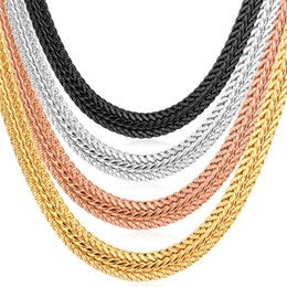 Wholesale Chain Choker Men - Men Jewelry Gifts Men's Thick Foxtail Chains 18K Yellow Gold Rose Gold Platinum Plated Choker Necklaces