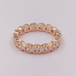 Wholesale Gold Brilliant Rings - Rose Gold Plated & 925 Sterling Silver Ring Rose Alluring Brilliant European Pandora Style Jewelry Charm Ring Gift 180942CZ