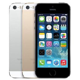 Wholesale iphone 5s black unlocked - Refurbished Original Apple iPhone 5S Unlocked Cell Phone 16 32 64GB A7 Dual Core IOS 8 4.0 inch IPS 8.0MP LTE Smart Mobile Phone DHL 1pcs