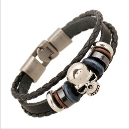 Wholesale Punk Cuff Ring - Meaeguet Men's Leather Skull Bracelets Rock Punk Stainless steel Skeleton Charms Cuff Bracelet Bangles Casual Jewelry G44