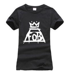 Wholesale Funny Korean T Shirts - Wholesale- 2016 summer Fall Out Boy FOB Women t-shirt fashion Print Harajuku brand korean tee Shirt femme funny punk slim hipster cute tops