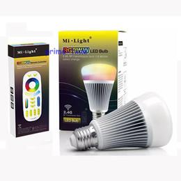 Светодиодный терморегулятор онлайн-Wholesale-NEW MiLight 2.4G Wireless E27 8W RGBWW + Color Temperature Dimmable 2 in 1 Smart LED Bulb AC85-265V +4-Zone 2.4G RF Controller