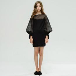 Wholesale Tight Stretch Dresses - Long sleeve women's sweet dress O-neck fall black sexy dress hot sale slim mini tight dresses high stretch gauze short dress