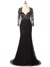 Wholesale Sample Long Sleeve Evening Dresses - Real Sample Beaded Sheer With Sleeves Black Lace Evening Dresses Mermaid Prom Dress Long Open Back Formal Gowns Women Party Dresses