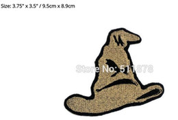 """Wholesale Transfers Wholesale Hat - 3.75"""" Harry Potter Sorting Hat patch Movie TV Series Fancy Dress Costume Halloween cosplay Embroidered iron on badge TRANSFER"""