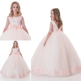 Wholesale Long Sleeve T Shirts Junior - 2017 Pretty Half Sleeves Flower Girls' Dresses For Weddings Jewel Floor Length Junior Princess Birthday Flower Girls' Dress Custom Made