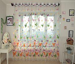camera da letto balcone tenda Sconti Filato farfalla rustico tenda finestra tulle romantico screening prodotti finiti balcone tenda pura camera da letto della ragazza