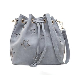 Wholesale Roping Saddles - 2017 simple beam mouth rope double diagonal cross female bag fashion PU shoulder bag five-pointed star bucket bag