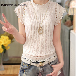 Wholesale Loose Shirt Shorts Korean - Plus size 3XL Lace Chiffon Women Blouse Shirt Korean Sweet Style Short Puff Sleeve Pullover Organza Loose Tops for Women C68276H