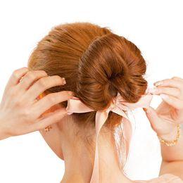 Wholesale Magic Sponge Bun Clip - Elegant Silk Ribbon Bowknot Magic Twist Hair Sponge Bun Maker Braider for Girls Black Hair Bun Band Clip New Hair Styling Tools