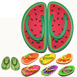 Wholesale Strawberry Fabric Wholesale - Summer Cartoon Fruit Slippers Cute Girl Flip Flops Sandals 9 Styles Pineapple Strawberry Watermelon Beach Flat Flip OOA1458