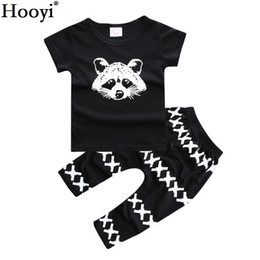 Wholesale Leopard Cross Top - Hooyi Fashion Baby Clothing Sets Children Raccoon T-Shirt + Cross Pant Suits 100% Cotton Black Boys Outfit Girls Clothes 0 1 2 3 Years Tops