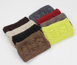 Wholesale Cloche Crochet Wholesale - 100pcs lot Fahion street winter autumn women's adults lady crochet empty wool hats knitted wide headbands children's hats ear neck warmer