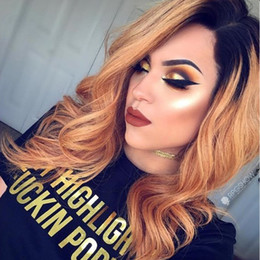 Wholesale Honey Blonde Lace Front Wigs - Ombre#1b 27 Lace Front wavy Human Hair Wigs peruvian Ombre Honey blonde Full Lace Human Hair Wigs For Women