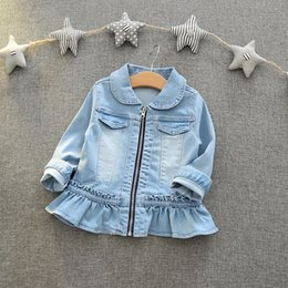 Wholesale Kids Denim Jackets Wholesale - Everweekend Girls Ruffles Agaric Laces Denim Jacket Lovely Kids Zipper Turn-down Collar Clothes Cute Baby Fall Coat